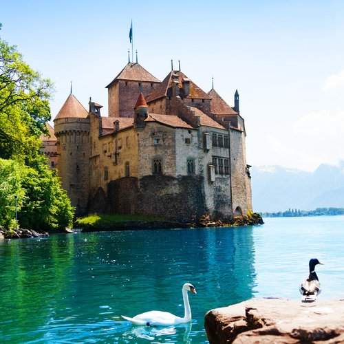 chillon castle view geneva lake
