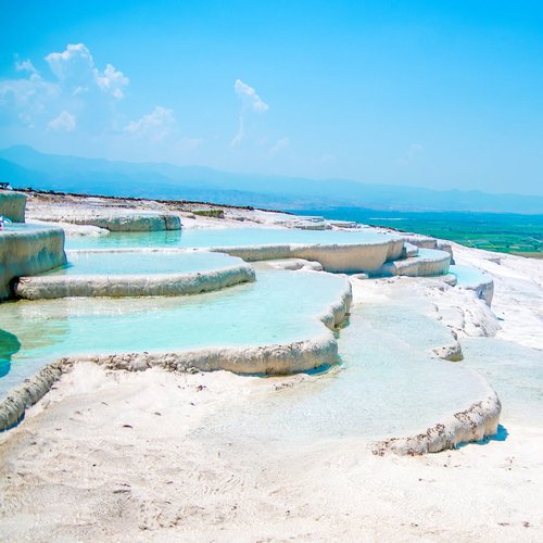famous beautiful travertine pools and terraces in pamukkale