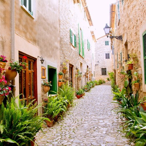 Majorca Valldemossa Typical Village with Flower Pots in Facades at Spain  - Spain Honeymoon Packages from India