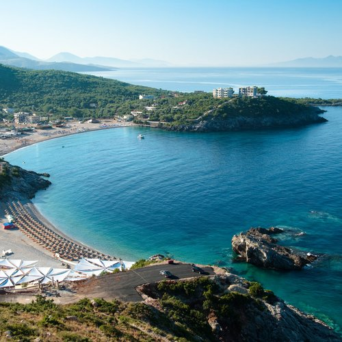 panorama of jal bay beach in southern albania
