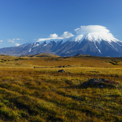 smoking volcano in kamchatka