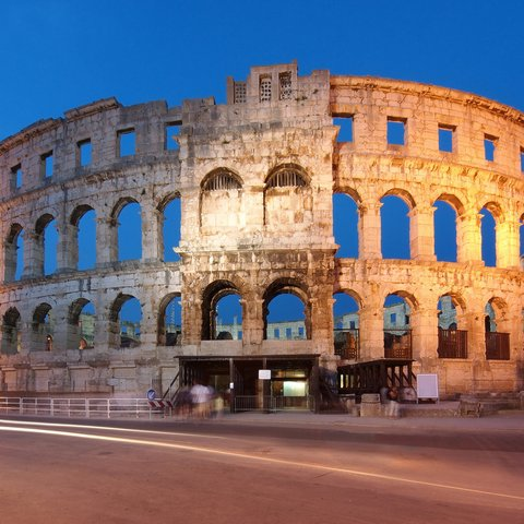 the ancient roman amphitheater in pula