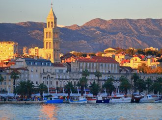 the palace of diocletian and venetian church tower on the adriatic sea cost, split