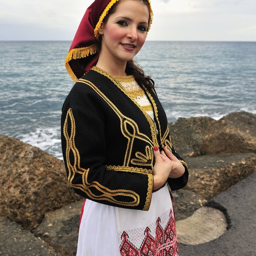 traditional folklore dancer at the fort of heraklion