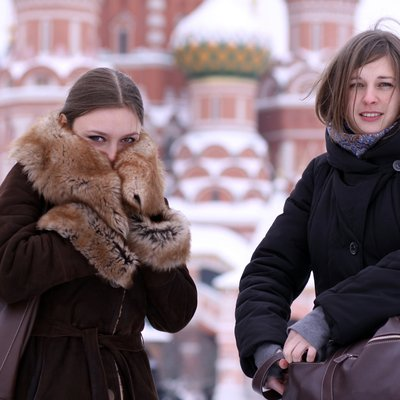 two girls tourists in moscow