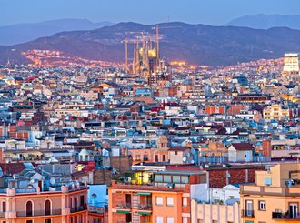 view of barcelona from montjuic