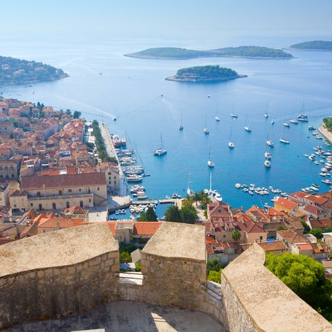 view of the city of hvar from the citadel