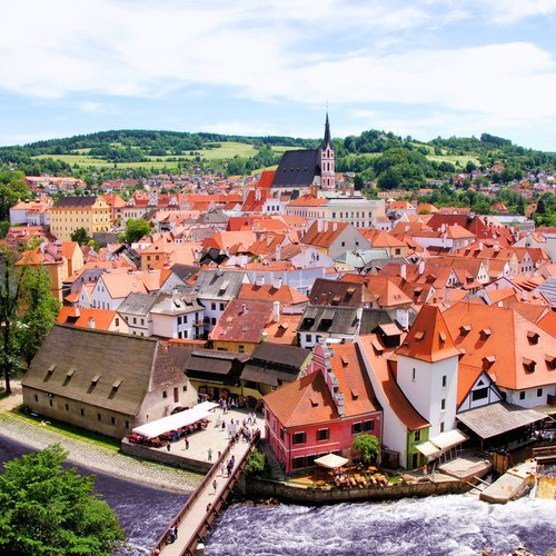 view over the old town of cesky krumlov