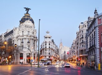 walk long the gran via in madrid